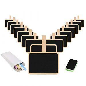 16 Pcs Tableau Noir Avec Pince, KAKOO Mini Ardoise Rectangle Avec Clip en Bois Blackboard avec Craie effaceur Pour Photo Tags Décoration Mariage (LANMOK EU, neuf)