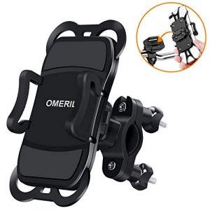 OMERIL Support Téléphone Vélo Moto, Support Vélo du Guidon avec Sangle en Silicone Anti-Vibrations Rotation 360 ° pour 3,5 à 6,3 Pouces GPS/iPhone X/8/8 Plus,Samsung Galaxy S9 Plus/S9/S8/Xiaomi etc (AmSin, neuf)