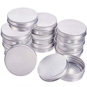 BENECREAT 14 Pots de 60 ML en Aluminium, boîtes de Conserve Rondes en Aluminium, Contenant en Plastique avec Couvercle à Bouchon à Visser pour Le Bricolage et Artisanat, Stockage-Platine (BENECREAT FR BOUTIQUE, neuf)