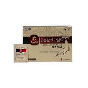 Thé Ginseng Coréen, boîte 50 sachets, stimule la circulation, la mémoire, le tonus (Ginseng Premium, neuf)