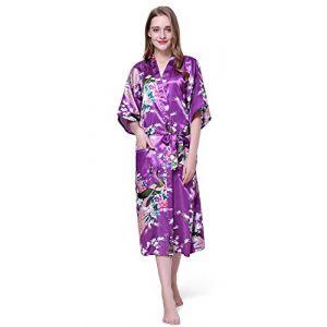 Cityoung-Kimono Japonais en Satin Sexy Robe de Chambre Peignoir-Femme (Violet,XXXL) (westkun, neuf)