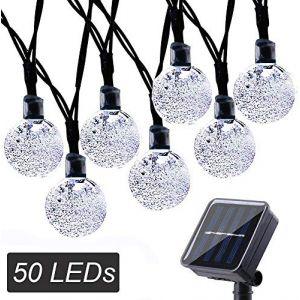 Guirlande Solaire, NEXVIN 7M 50 LED Guirlande Lumineuse Solaire Boules avec 8 Modes d'éclairages pour la Décoration Extérieure&Intérieure de Jardin, Mariage, Anniversaire (Blanc) (NEXVIN, neuf)