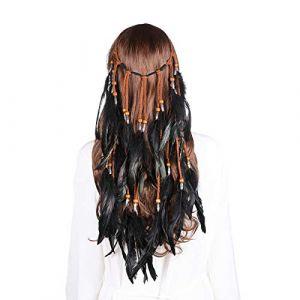 Coiffe de plumes Bandeau Hippie Boho - Coiffure en plumes fantaisie Chapeaux Bohémiens Pompon pour les femmes filles casque de carnaval (Noir clair) (anjerry, neuf)