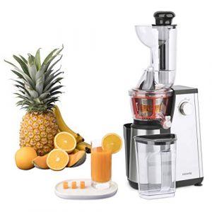 Extracteur de Jus de Fruits et Légumes vertical  GSX24 H.Koenig Centrifugeuse Vitamin + sans BPA - 82 mm Large Bouche - 3 tamis pour jus fin ou épais et sorbet - Pression douce - 50 tours 400 W (HomeHome by A, neuf)