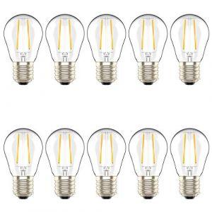 Lot de 10 Ampoules LED Culot Edison à Vis E27,2W équivaut Ampoule Halogène 20W, Blanc Chaud 2700K,AC 220V (Atesny, neuf)