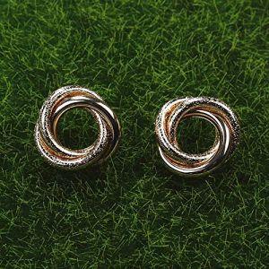 Boucles d'oreille pour femmes géométrique irrégulière ronde tube torsadé boucles d'oreilles pour femmes Punk Vintage charme boucle d'oreille accessoires de fêteargent (Graceguoer, neuf)