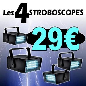 4 JEUX DE LUMIERE PACK de 2 STROBOSCOPES STRROBE20LED BAR CLUB DISCO SOIREE PA DJ SONO LIGHT (Starmix, neuf)
