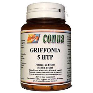 Griffonia simplicifolia L-5-HTP Extrait sec 120 GELULES 322 mg/jour de 5htp extra fort plus de 100mg Stimule la sérotonine Titré à 30% en poudre hydroxytryptophane 100% naturel FLACON POUR 2 MOIS (Conua, neuf)