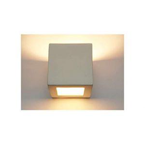 Applique murale applique murale applique lampe plâtre lampe plâtre lampe céramique cube cube blanc avec vitre supplémentaire pour peinture sur le dessus E27 pour intérieur Kubik 1210 (KMLShop, neuf)