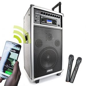 """Vonyx ST100 MK2 Système Sono Portable 8"""" Bluetooth/CD/MP3, Enceinte active 8"""", Puissance 250W, Deux micros main UHF sans-fil et un micro filaire, Batterie intégrée (Sono Matériel, neuf)"""