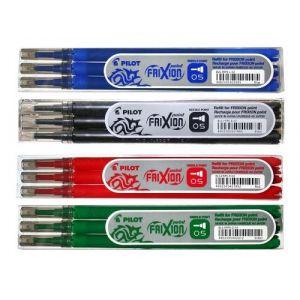 Pilot friXion-point roller pointe friXion-lot de 4 recharges-lots de 3 pièces dans les couleurs bleu, noir, rouge, vert (The Quilted Bear Ltd, neuf)