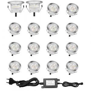 Lot de 16 Spots LED Encastrable pour Terrasse Bois, Etanche IP67, Spots à Encastrer Extérieur, 0,6W DC12V, Lumière Blanc, Kit Mini Lampe pour Chemin Contremarches d'escalier Plafond (AKOR, neuf)