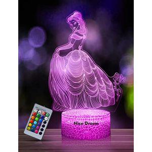 Veilleuse Princesse 3D pour Enfants, Fille Lampe LED USB Veilleuse Illusion, 16 Couleurs Changeantes avec Télécommande pour Enfants Adultes Cadeau d'anniversaire et de vacances (AmorllaEU, neuf)