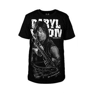 T-shirt à l'effigie de Daryl Dixon de la série The Walking Dead- T-shirt à manches courtes en coton- Noir -  noir - M (fortunezone, neuf)