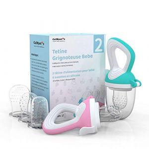 CalMyotis Tetine Grignoteuse Bebe, TetineFruitsBebe Pour Fruits et Purée de Légumes, Sans BPA, Tétine D'alimentation en Silicone en 3 Tailles et 6 Unités (Rose + Vert), 2 Unités (CalMyotis FR, neuf)