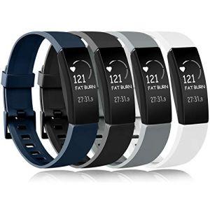 Amzpas Compatible pour Fitbit Inspire Bracelet & Fitbit Inspire HR Bracelet, Classique Bracelet Bande de Remplacement Compatible pour Fitbit Inspire HR (Noir+Bleu Marine+Gris+Blanc, L) (SMXMY-CN, neuf)
