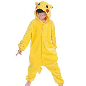 wealsex Pyjama Combinaison Animaux Cosplay Costumes Halloween Slipper Pantoufle Enfant Unisexe(Pikachu,125) (wealsex shop, neuf)