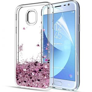 LeYi Coque pour Samsung Galaxy J3 2017, Coques Samsung J3 2017 Liquide Paillette Etui avec Film de Protection écran HD, Brillante Sables Mouvants Transparente Silicone TPU Bumper Shock-Absorption Souple and Hard Coques Housse Telephone pour Samsung Galaxy