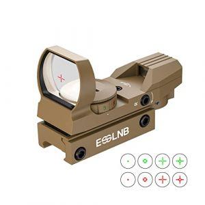 ESSLNB Point Rouge Chasse Rojo et Vert 4 Réticule 5 Luminosité Réglages Viseur Airsoft avec 20mm/22mm Weaver/Picatinny Rail Mount Multi-Enduit Lentille Couverture pour Chasse Airsoft Tournage (ESSLNB uk, neuf)