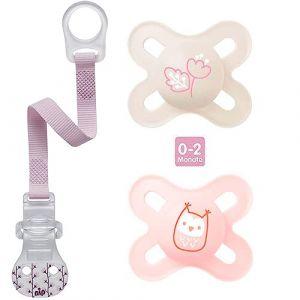 MAM Tétine «Skin Soft» en silicone pour nouveau-nés et prématurés de 0 à 2 mois Girl // Lot de 2 // avec  boîte de transport stérilisateur et attache-tétine NIP (babywaren24, neuf)