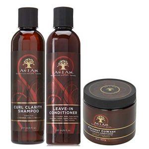 As I Am Naturally - Lot de 3 soins capillaires - shampoing Curl Clarity/après-shampoing sans rinçage/cowash à la coco (Online Wellness Ltd, neuf)