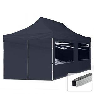 TOOLPORT Tente Pliante 3x6 m - 4 côtés Aluminium Barnum Chapiteau Pliant Tonnelle Stand Paddock Réception Abri PES300 Gris (INTENT24, neuf)