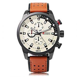 CURREN 8245 Montre Homme Fashion Casual Business Complet Calendrier Montres-bracelets Surface Créative (FYLove, neuf)
