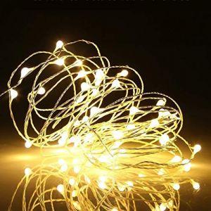 Malayas Guirlande Lumineuse Micro LED étoilées 5M Blanche Chaude Piles Incluses Chaîne Eclairage Lumières de Guirlande de Luciole en Cuivre Etanche Décoration Noël Fête Mariage (WISFORBEST, neuf)