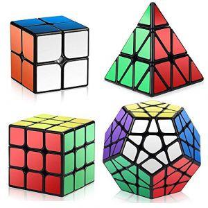 Roxenda Ensemble Speed Cube, 2x2x2 3x3x3 Pyramid Megaminx Vitesse Cube de Magique; Facile à Tourner et à Lisser (Noir) (HURDILEN, neuf)