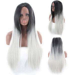 Teinture perruque moyenne longueur cheveux raides noir rouge perruque noir gris ? Noir + gris (petrichor87, neuf)