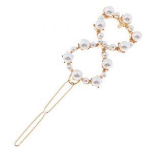 B Baosity Pince à Cheveux avec Artificielles Perles Blanches élégantes Accessoires de Coiffure pour Filles Femmes - comme décrit, Bowknot (BAOSITY, neuf)