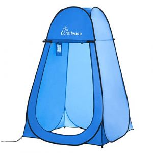 WolfWise Tente de Douche Toilette Cabinet de Changement Camping Abri de Plein Air Vestiaire Amovible Extérieure Intérieure, Bleu (Dyang Direct, neuf)