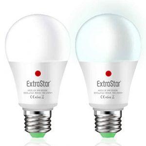 EXTRASTAR Lot de 2 ampoules LED avec capteur crépusculaire pour extérieur, mise en marche/arrêt, 9 W Blanc froid 6500 K (EXTRASTAR, neuf)