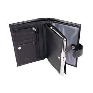 KATANA Porte Monnaie Porte feuile à Fermoir en Cuir réf 553010 (3 Couleurs) (Noir) (LEATH'HEART, neuf)