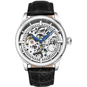 Montre Automatique pour Homme Stuhrling Original, Cadran Squelette avec Bracelet en Cuir, série 3933 (Silver) (Timeworks International, neuf)