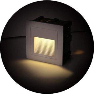 Topmo-plus Lot de 4 Lampe de Spot LED pour Terrasse 3W Eclairage Encastré Exterieur pour Chemin Contremarches d'escalier Piscine intérieurs extérieurs Spots Luminaires IP65 6 x 6 x 4,6CM (Blanc chaud) (Topmo-FR, neuf)