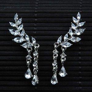 Cadeaux Boucles d'oreilles Femme Ailes d'ange Boucles d'oreilles Strass Incrusté Alliage Oreille Bijoux Boucle D'oreille Partie Plume GothiqueArgent (Graceguoer, neuf)
