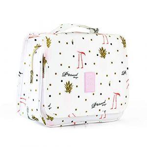 W?P Trousse de Toilette Voyage Trousse de Maquillage Avec Crochet Suspendu Grande Organisateur Cosmétique Trousse de Toilette Pliable (Flamingo) (yipincuilou, neuf)