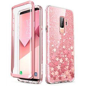 i-Blason Coque Galaxy S9 Plus, Coque Complète Brillante Glitter Bumper avec Protecteur d'écran Intégré [Série Cosmo] pour Samsung Galaxy S9 Plus 2018 (Rose) (I-Blason EU, neuf)