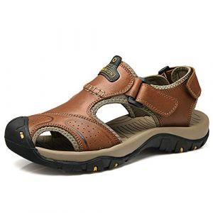 visionreast Sandales Homme Cuir Sandale Randonnée Chaussure d'été Sandale Sport Marche EU38-EU48 (visionreast, neuf)