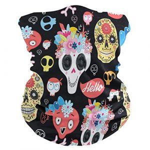 QMIN Bandeau Tête de mort en sucre Fleur Feuilles Bandana Visage Soleil Protection Masque Cagoule Magique Cagoule pour Femmes Hommes Garçons Filles (QMIN, neuf)