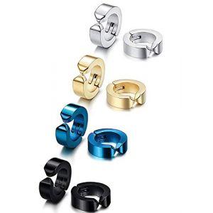 Finrezio 4 Paires Acier inoxydable Clip Sur Ensemble De Boucles d'Oreilles Pour les femmes hommes Casque audio Faux piercing à l'hélice Style A (Finrezio Jewelry, neuf)