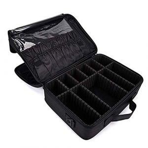 Professhional grand sac cosmétique 3 couche cloison amovible imperméable à l'eau maquillage organisateur trousse de toilette Make Up Bag pour hommes femmes,Black,singleshoulder (AND DOG, neuf)