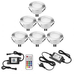Lampe au Sol Spot Encastrable 1W + Wifi contrôleur-Lumière RGB étanche IP67 Ø61mm-éclairage pour terrasse, patio, chemin, mur, jardin, décoration, intérieur et extérieur (INDARUN-EU, neuf)