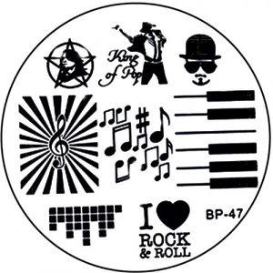 Pochoir de stamping # BP de 47Rock N Roll, King of Pop, Musique, notes, touches de piano (NAILART & MEHR, neuf)