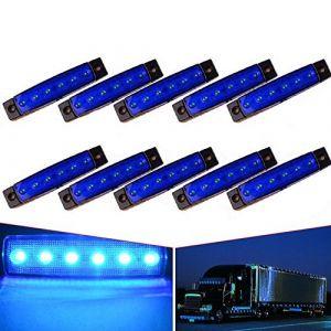 """VIGORFLYRUN PARTS LTD Feux de Gabarit Latéraux LED, Indicateur de Position, 6 LED 3.8"""" Feux De Côté pour 24V Voiture Remorque Camion Lorry Caravan Bus - 10Pcs Bleu (VIGORFLYRUN PARTS LTD, neuf)"""
