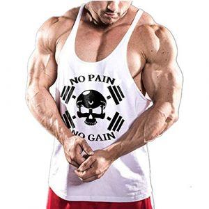 Cabeen NO Pain NO Gain Culturisme Débardeurs Workout Fitness Gym Tank Top (CSJ SHOP, neuf)