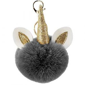 Porte Clé Clef Fluffy Boule Artificielle Fourrure Pompon Peluche Femme Fille Licorne Pendentif Original Accessoire de Sac Voiture (Noir, Taille Unique) (chuangminghangqi, neuf)