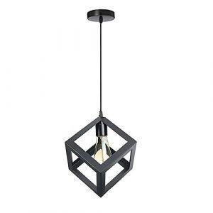 STOEX Suspension Luminaire Industrielle Contemporain, Lustre Abat-Jour Plafonnier en Métal Fer Cage E27 (Cube-Noir) (STOEX, neuf)