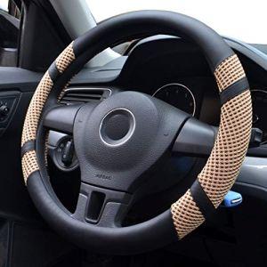 Pahajim Car Steering Wheel Cover Couvre Volant Cuir Housse de Volant de Voiture en Soie glacée Respirante antidérapante Durable Summer Universelle(Beige) (Pahajim, neuf)